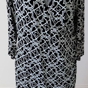 Chico's traveler long black and white dress size 2